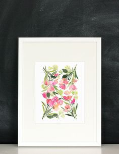 This is an archival inkjet print of the original watercolor.  I was originally inspired by the beautiful silk scarves of Vittorio  Accornero for Gucci. The result is my own take on garden flora in a  composed manner that feels at once bright and modern. Also available as a  tea towel.