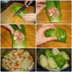 Lithuanian Cabbage Rolls - 1 head green cabbage 1 large carrot, chopped 2 tablespoons butter 1/2 large onion, chopped 1/2 bell pepper, chopped 1 clove garlic, minced 1 cup cooked rice 1 pound ground beef, lamb, pork, or chicken 1 egg, beaten salt and pepper to taste 1 cup tomato sauce 1 cup chicken or beef stock 2 bay leaves 3 tablespoons sour cream Chicken Cabbage Roll Recipe, Chicken And Cabbage, Green Cabbage, Cabbage Rolls, Lithuania Food, Lithuanian Recipes, 17 Day Diet, Cooking Recipes, Healthy Recipes