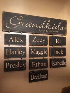 "Personalized Carved Wooden Sign - ""Grandkids Make Life Grand"" Haylees Closet creates custom carved wooden signs for that perfect personalized addition to your home decor. All of our signs are hand painted and Pallet Art, Pallet Signs, Diy Blog, Do It Yourself Home, Diy Signs, Wood Projects, Router Projects, Carpentry Projects, Personalized Gifts"