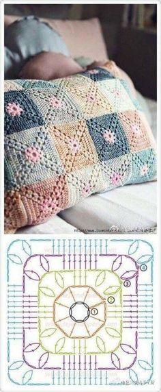 Free crochet pattern, crochet diagram, pillow, crochet pillow, crocheted pillow, gratis haakpatroon, gehaakt kussen, haakdiagram