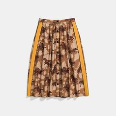 COACH® Outlet | HORSE PRINT PLEATED SKIRT WITH SIDE PANEL Pleated Skirt, Midi Skirt, Sequin Skirt, Coach Outlet, Fit 30, Horse Print, Clothes Horse, Hat Sizes, Printed Skirts