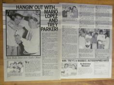 Mario Lopez and Trey Parker, Two Page Vintage Clipping