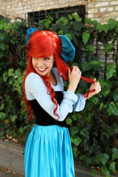 ariel costume khaki top,black tube top, blue chiffon dress and red wig