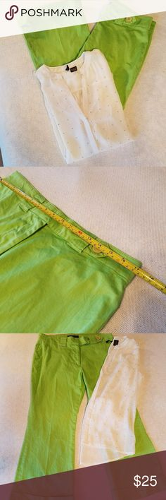 Ninety green pants size 12 Gorgeous pant color for this spring and summer! With two front rounded pockets. Zip double clasp, button closure and exterior belted with large button closure. Cuffed   pant hem give it a classy look.  Measurements laid flat Waist 17  Length 34 1/2 Ninety Pants