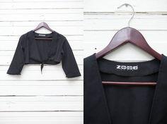 Vintage Black Bolero / 1980s Vintage Black Long Sleeve Crop