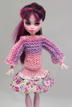 Pink-violet knitted SWEATER and flowery SKIRT by ZomiDollClothes