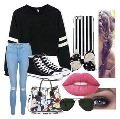 """""""Untitled #248"""" by calumhoodpotterchild ❤ liked on Polyvore featuring New Look, Converse, Milly, MICHAEL Michael Kors, Novelty, Ray-Ban and Lime Crime"""