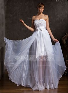 weetheart Floor-Length Organza Satin Prom Dress With Lace Beading