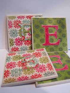 I made these monogramed coasters as a present for a friends housewarming. Just wanted to share. There are more details in my craft blog.