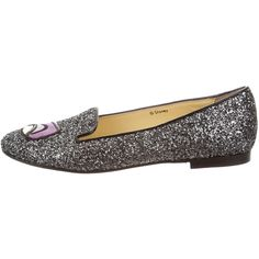 Pre-owned Chiara Ferragni Maleficent Glitter Loafers (1.691.300 IDR) ❤ liked on Polyvore featuring shoes, loafers, silver, metallic loafers, round cap, chiara ferragni, metallic shoes and loafer shoes