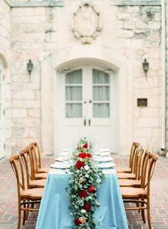 Image result for cranberry and dusty blue wedding