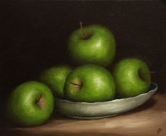 Green Apple dish Original Oil Painting still life by JanePalmerArt
