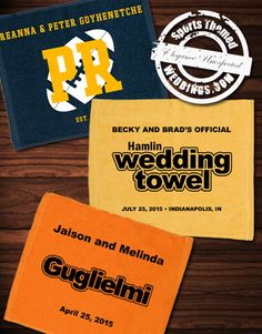 Wedding Guest Favors - Custom Rally Towels.  They're not just for Pittsburgh Steelers Fans.  #footballwedding  #stwdotcom