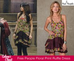 """Selena's character Alex Russo sported this Free People Floral Print Sleeveless Ruffle Dress in the Wizards of Waverly Place Season 4 Episode """"The Beast Tamer""""."""