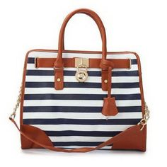 Michael Kors Striped Lock Large Navy Totes Outlet