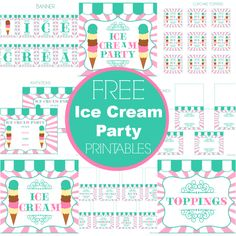 FREE Ice Cream Party Printables from Printabelle - Perfect for Summer! Ice Cream Theme, Ice Cream Parlor, 2nd Birthday Parties, Birthday Fun, Summer Birthday, Birthday Ideas, Sundae Party, Oh My Fiesta, Party Printables
