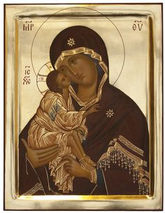 Our Lady of the Don - Aidan Hart Sacred Icons There is something strange with her neck.