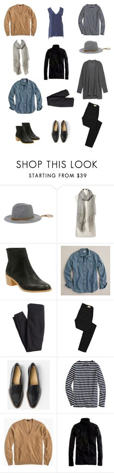"""""""Untitled #771"""" by areasonablydressedwoman ❤ liked on Polyvore featuring San Diego Hat Co., Gap, Clarks, J.Crew, Paige Denim, Everlane and Equipment"""