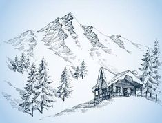 Nature In The Mountains Sketch, Winter Landscape And Winter Holiday. Royalty Free Cliparts, Vectors, And Stock Illustration. Landscape Pencil Drawings, Landscape Sketch, Pencil Art Drawings, Art Drawings Sketches, Landscape Art, Mountain Sketch, Mountain Drawing, Nature Sketch, Nature Drawing