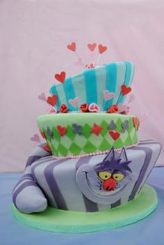Cheshire cat cake is a perfect piece for an Alice in Wonderland themed party! Mad Hatter Cake, Mad Hatter Party, Mad Hatter Tea, Alice In Wonderland Cakes, Alice In Wonderland Birthday, Wonderland Party, Cheshire Cat Cake, Chesire Cat, Cake Pops
