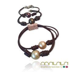 Una clienta nos pide que le convirtamos estas pulseras de #perlas golden, verde y marrón en un #colgante ¿Queréis ver el resultado? Mañana os lo enseñamos ;-)
