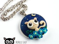 Polymer Clay Pendant Necklace Cat  Night walk by MemecoShop