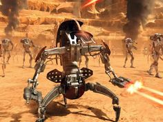 Attack of the Clones - Destroyer Droid or Droideka, Battle of Geonosis Droides Star Wars, Star Wars Canon, Star Wars Droids, Star Wars Vehicles, Galactic Republic, Cool Robots, Star Wars Concept Art, Battle Droid, Star Wars Tattoo