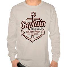 Totally Personalized Captain Anchor Nautical Tee T Shirt, Hoodie Sweatshirt