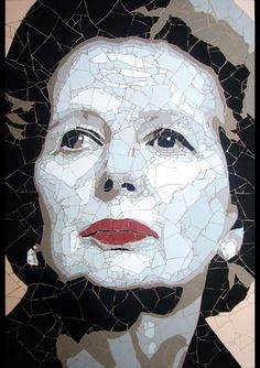 Margaret Thatcher mosaic portrait,pieces of vinyl dust material,Ed Chapman author. Mosaic Garden, Mosaic Art, Mosaic Glass, Garden Art, Stained Glass, Street Gallery, Art Gallery, Margareth Thatcher, Mona Lisa Images