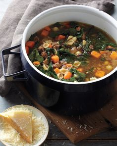 Twenty minutes of prep time yields a hearty pot of soup abounding with Italian sausage, pasta shells, sweet potato, and nutritious winter greens.