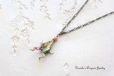 Origami Jewelry  Japanese Origami Frog Necklace by KumikosOrigami