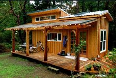 Keva Tiny House, A Smallish Living on Salt Spring Island. Rebecca is tucked away in the woods on Salt Spring Island, B. in her tiny house on wheels. Tiny House Swoon, Tiny House Cabin, Tiny House Living, Tiny House Plans, Tiny House Design, Tiny House On Wheels, Cabin Design, Tiny Cabin Plans, Tiny Backyard House