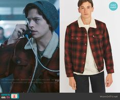 Jughead's red plaid jacket with fleece collar on Riverdale.  Outfit Details: https://wornontv.net/71037/ #Riverdale