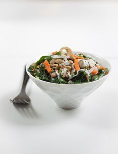 Kale and Swiss Chard Salad with Toasted Pepitas #vegan #grainfree @rickiheller.com