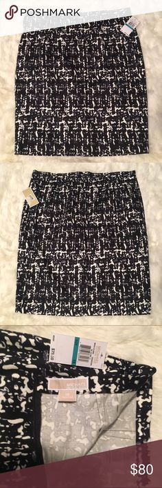 Michael MK NWT Patterned Skirt This is a nice pencil skirt, NWT, with a unique pattern in black, grey and white. It has some stretch and is excellent quality. So very tempting to keep it in my closet until a formal day in the office. Let me know if you have questions. Offers welcome and bundles encouraged! MICHAEL Michael Kors Skirts Pencil