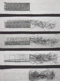 Gail Baxter Size: 140 x 70 cm Material: Waxed linen thread, cotton fabric Date: 2009 contemporary abstract textile art weave installations Textile Fiber Art, Textile Artists, Textile Fabrics, Mises En Page Design Graphique, Stitching On Paper, Fabric Art, Cotton Fabric, Textiles Techniques, Thread Art