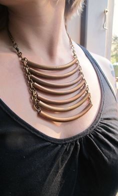Tribal Ladder Necklace Bib Necklace Edgy by daniellerosebean, $188.00