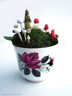 Fairy town in a teacup -  Faerie Houses, Moss and Mushrooms Oh My. $45.00, via Etsy.