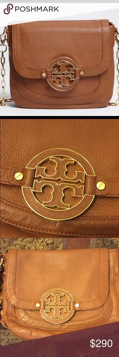 Tory Burch Amanda Gently used and in excellent condition authentic Tory Burch camel color crossbody bag highlighted with goldtone accents for a classic finish. Magnetic-snap flap closure. Hidden slip pocket under flap. Interior zip, wall and cell phone pocket. Protective metal feet. Leather. By Tory Burch; imported.  No stains, ribs, or scratches Tory Burch Bags Crossbody Bags