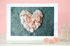 Valentine's Heart Card, Pink Heart, Anniversary Card, Wedding Card, Engagement Card, Mother's Day Card, Photo Card, Blank for Own Message by SeaBreezeShop on Etsy