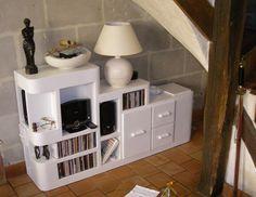 SG Mobilier Carton, meuble multimédia sous escaliers www.mobilier-cart...