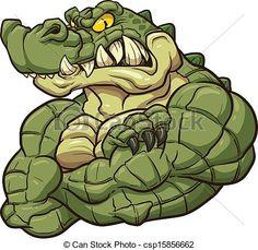 Alligator mascot clip art vector