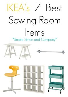 IKEA's Best Sewing Room Items! The bulk of the storage pieces, work areas, and furniture in both mine and Elizabeth's sewing rooms comes from IKEA. Without our planning we both gravitated toward the practical pieces, clean lines, and affordable prices tha Craft Room Storage, Sewing Room Storage, Sewing Room Organization, Craft Rooms, Ikea Storage, Ikea Sewing Rooms, Sewing Spaces, My Sewing Room, Sewing Room Decor