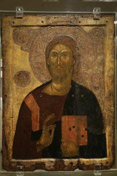 Icon of Christ Pantokrator, Athens, century Andrei Rublev, Medieval, Byzantine Art, Orthodox Icons, 14th Century, Fresco, Jesus Christ, Savior, Statue