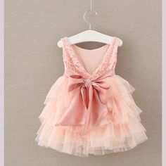 Bow Back Pink Tulle Dress