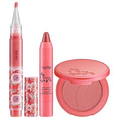 "Love! Love! Love! Tarte blush and lipsurgence in the shade ""Achiote"" This weired coral pink color looks amazing on everyone. (OK Revlon I""m waiting for the dupe please!)"
