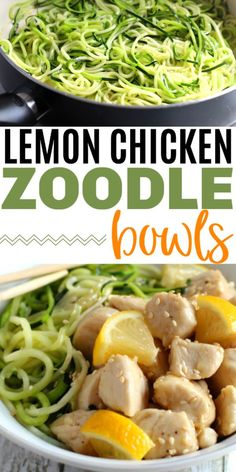 Lemon Chicken Zoodle Bowls are flavorful and delicious. These make a healthy lunch or dinner that is packed full of protein and veggies. This is also a healthy recipe for people on the myWW program. Healthy Dinner Recipes, Low Carb Recipes, Real Food Recipes, Sweets Recipes, Muffin Recipes, Delicious Recipes, Appetizer Recipes, Vegan Recipes, Best Chicken Recipes