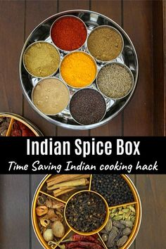 Indian spice box or masala dabba – It is essential, very functional in almost every Indian household's kitchen. You should have it, if you are cooking Indian food more frequently. Veg Dinner Recipes, Indian Food Recipes, Ethnic Recipes, Indian Spice Box, Indian Kitchen, Curry Recipes, Spice Things Up, Cooking Tips, Household