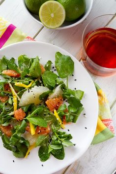 Pomelo, grapefruit's sweeter cousin stars in this sunny and bright easy winter salad!!