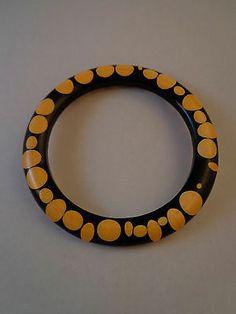 Vintage Black Cream Random Polka Dot Bakelite Bangle Bracelet | eBay